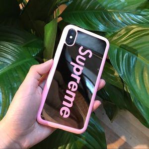 Supreme mirror iPhone X/xs case plus glass screen